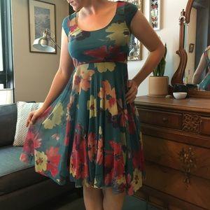 Anthropologie Weston Wear teal floral tulle dress